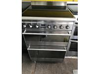 Stainless still smag 60cm ceramic hob electric cooker grill & double fan assisted ovens with guaran