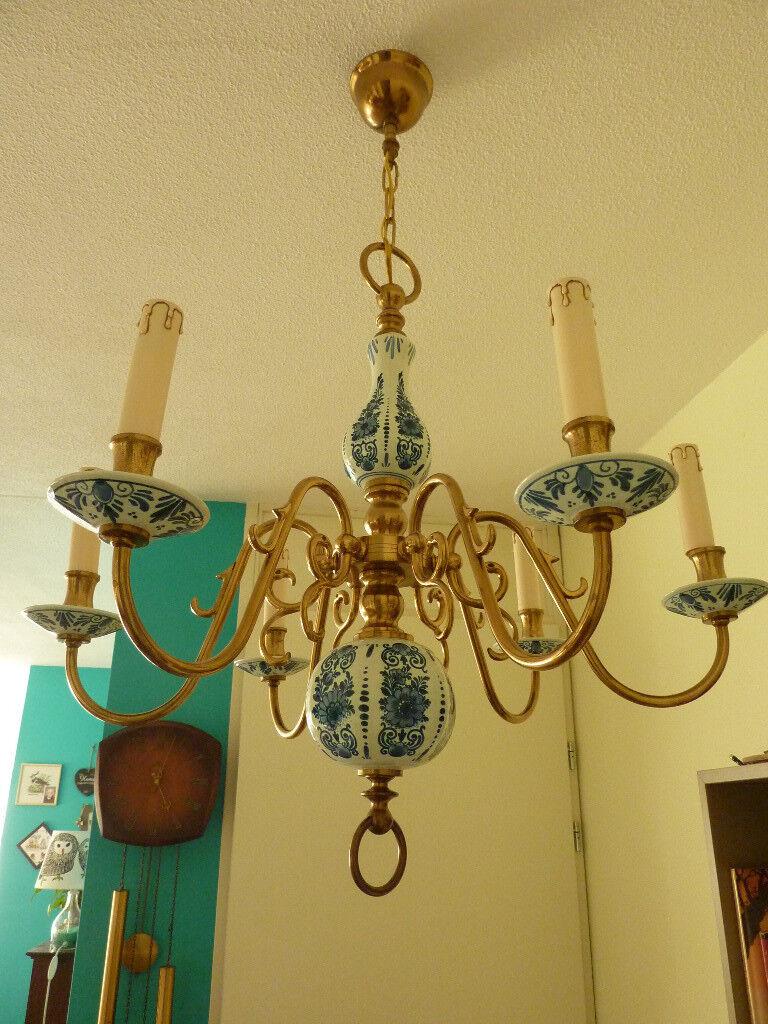 Antique dutch hand painted delft blue style porcelain and brass 6 antique dutch hand painted delft blue style porcelain and brass 6 arm chandelier arubaitofo Images