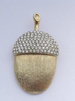 Vintage Marvella Goldtone & Rhinestone Acorn Autumn Fall Halloween Pin Brooch](Acorn Halloween Costume)