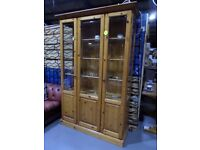 Fantastic Solid Pine Display Cabinet Dresser with Internal Lights and Glass Doors