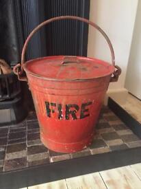 Genuine Vintage Metal Fire Bucket
