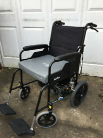 Folding wheelchair with electric charged powerpack to manage inclines and distance.