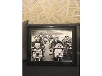 Framed print Mods on scooters from quadrophinia