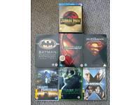 Spider man trilogy, Batman Anthology, Superman 5 film set + Jurassic Park trilogy on Blu-ray trilogy