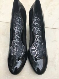Black heeled NEXT patent court shoes
