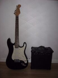 Burswood electric guitar with amplifier