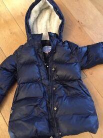 Girl's Duck Down navy Jacket with fleece 10Y