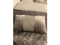 Crushed Velvet Grey Throw and Crushed Velvet Grey Cushion
