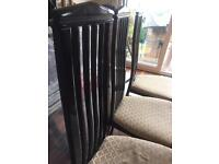 6 Black Wooden Dining table chairs