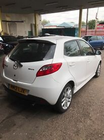 2012 mazda 2 1.3 tamura 5dr white 39000 miles one lady owner from new sadly cat d
