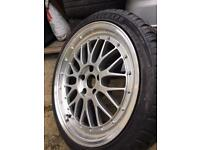 """X1 Bbs Lm style 18"""" 5x112 with new tyre"""