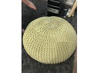 2 large chunky knit footstools poufes