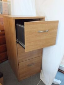 3 Drawer Beech effect Filing Cabinet