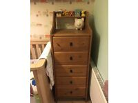 Toddler bedroom furniture. Bed wardrobe bookshelf and drawers