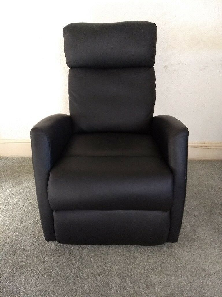 Black Faux Leather Armchair