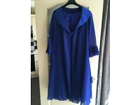 Ladies Blue Evening Dress Silk Lace and Chiffon with Empire Waist and 3/4 sleeve cardigan size 6