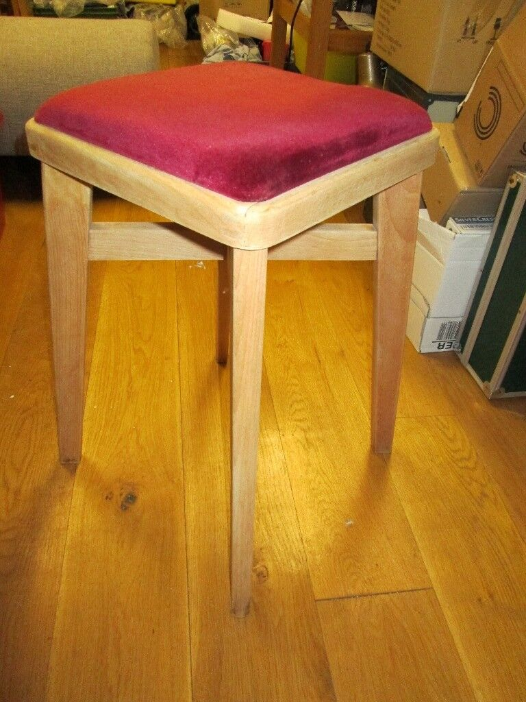 Super Vintage Retro Wooden Kitchen Stool Wine Red Velvet Covered Square Padded Seat In Christchurch Dorset Gumtree Beatyapartments Chair Design Images Beatyapartmentscom