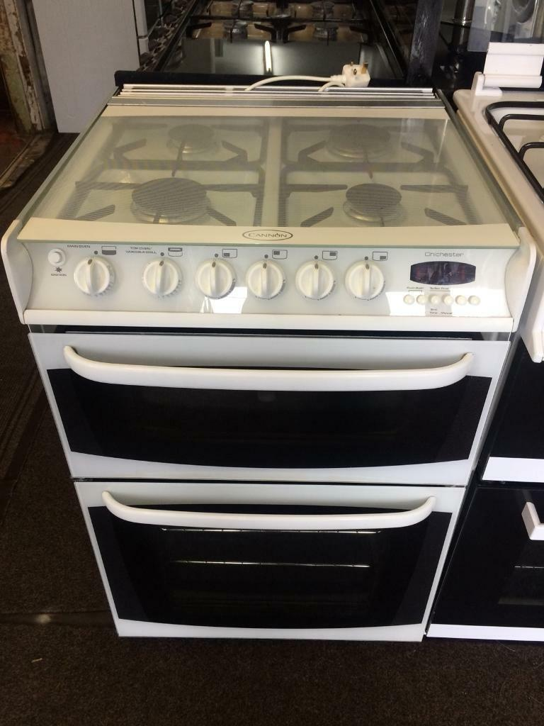 White cannon 60cm gas cooker grill & double ovens good condition with guarantee