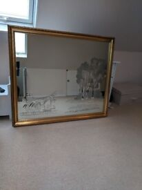 Mirror etched with Horse and Cart