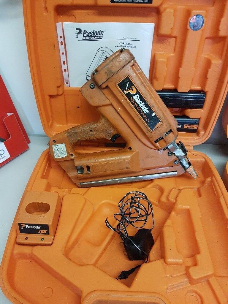 Paslode Im350 Nail Gun C W 2 Batteries A Charger Amp Case