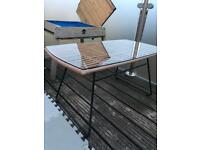 Garden coffee table with tempered glass top