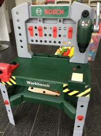 Toy Workbench, tools and drill