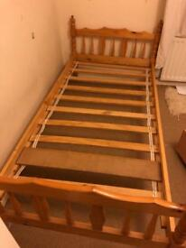 Single bed - pine frame and slats