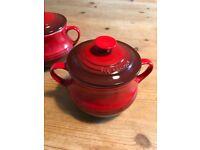 2 Red Le Creuset Lidded Soup Bowls