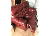 Two Seater Leather Brown/Red Recliner Sofa