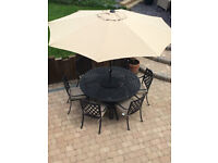 HARTMAN Aluminium Garden Furniture - Table + 6 Chairs + Parasol + Base **Delivery**