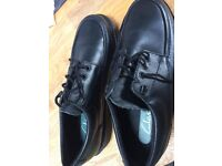 Black leather Clarks shoes, worn once, size 8.5, perfect condition, sold as shown in pictures