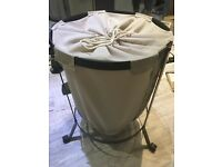 Excellent condition white laundry basket with artificial cast iron frame