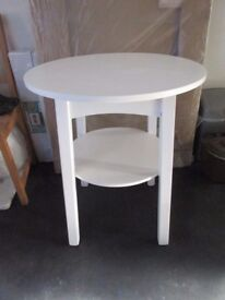 Occasional Side / End Table Painted White Round Top w Under Shelf 2ft Diameter