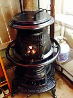 1943 red cloud pot belly wood cook stove