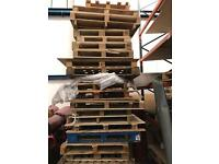 Wooden pallets for uplift.