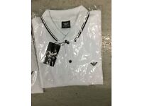 Armani polo shirts S.M.L black and white.
