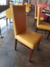 ALL NEED TO GO! Sapele Dining Chairs - 'Shelly' Leather Upholstery