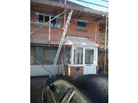 Pvc porch, with windows and bricks roof all guttering and fixtures