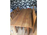 Solid Oak Dining Table & 6 Solid Oak Dining Chairs
