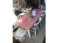 🌺shabby chic: / solid pine table + 6 chairs