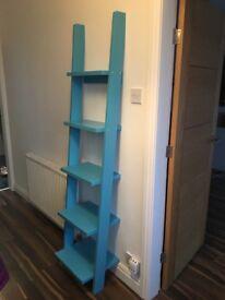 Turquoise ladder style shelf unit