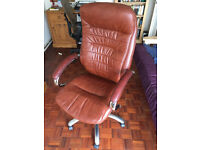 Sienna Real Leather Executive Office Chair - Burgundy - NEW & ASSEMBLED