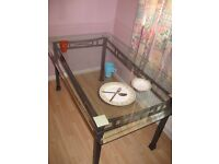 Glass Top Metal Frame 6 Chair Dining Table (without chairs)