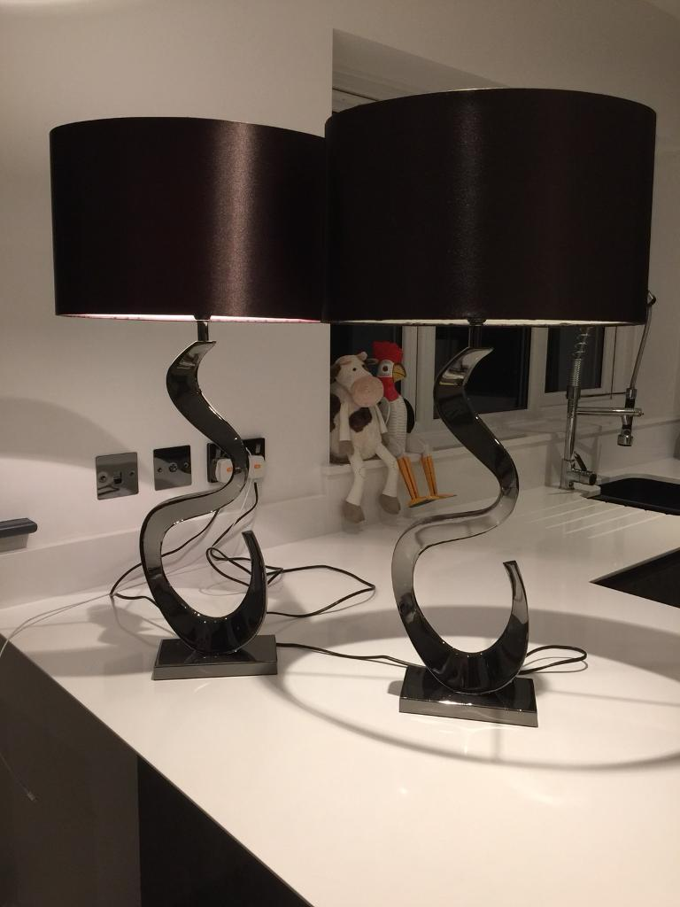 Chocolate brown lampshades x2 gunmetal bases bedsides lounge lamps