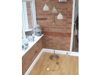 Antique brass style three way floor lamp complete with footswitch