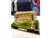 London Bus showpiece Gold Colour Crystal Glass