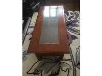 Solid wood and glass top coffee table