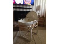 Mamas & papas rocking stand & deluxe Moses basket once upon a time cost £80 new !!