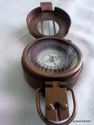 Brass Antique British Prismatic Military Vintage WW2 Mark II Pocket Compass Gift