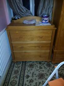 Solid pine chest of drawers/nursery furniture